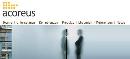 Screenshot der Webseite www.acoreus.de