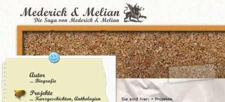Screenshot der Webseite www.mederick-melian.de